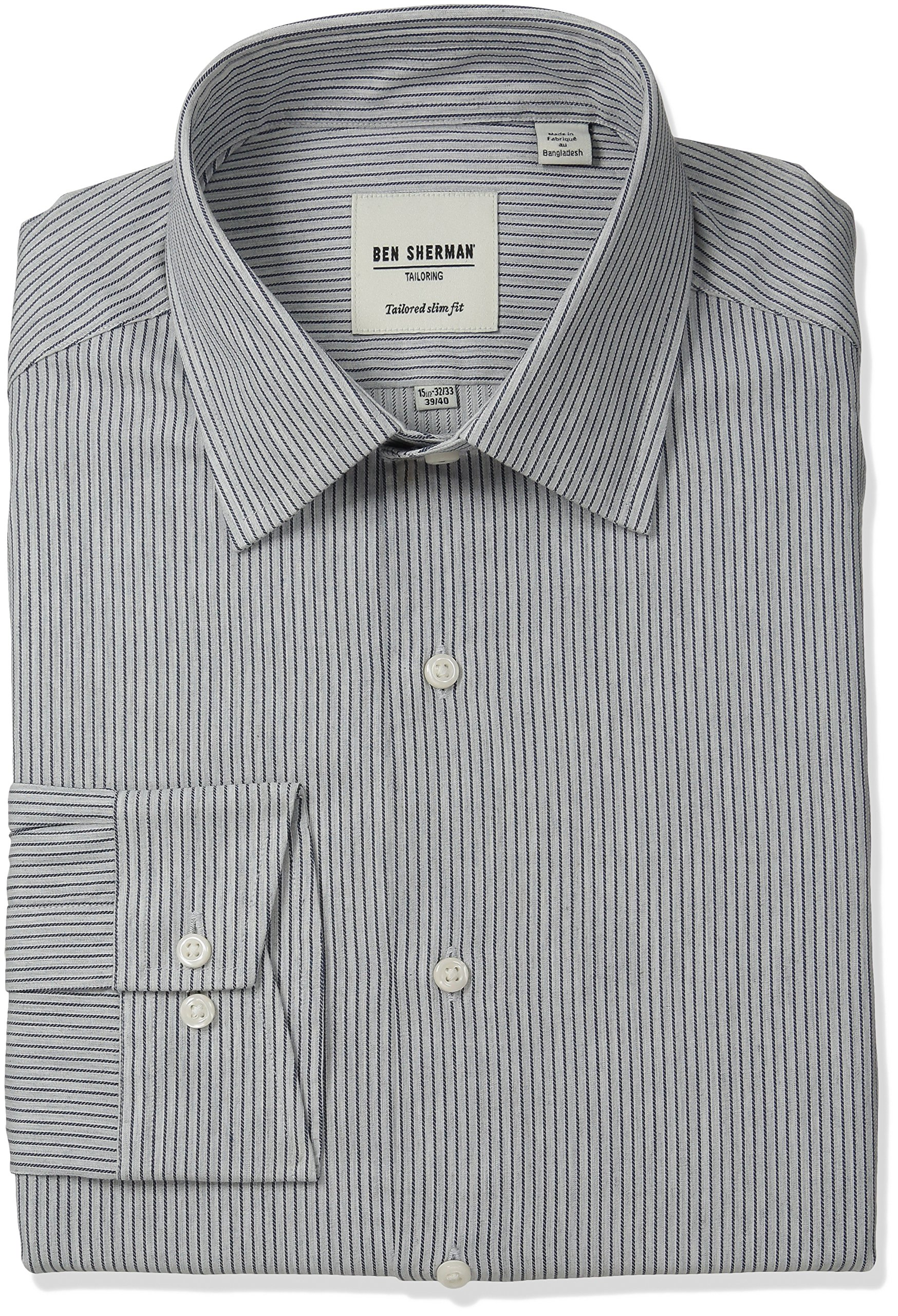 Ben Sherman Men's Slim Fit Fine Stripe Spread Collar Dress Shirt, Grey Heather/Navy, 16'' Neck 34''-35'' Sleeve