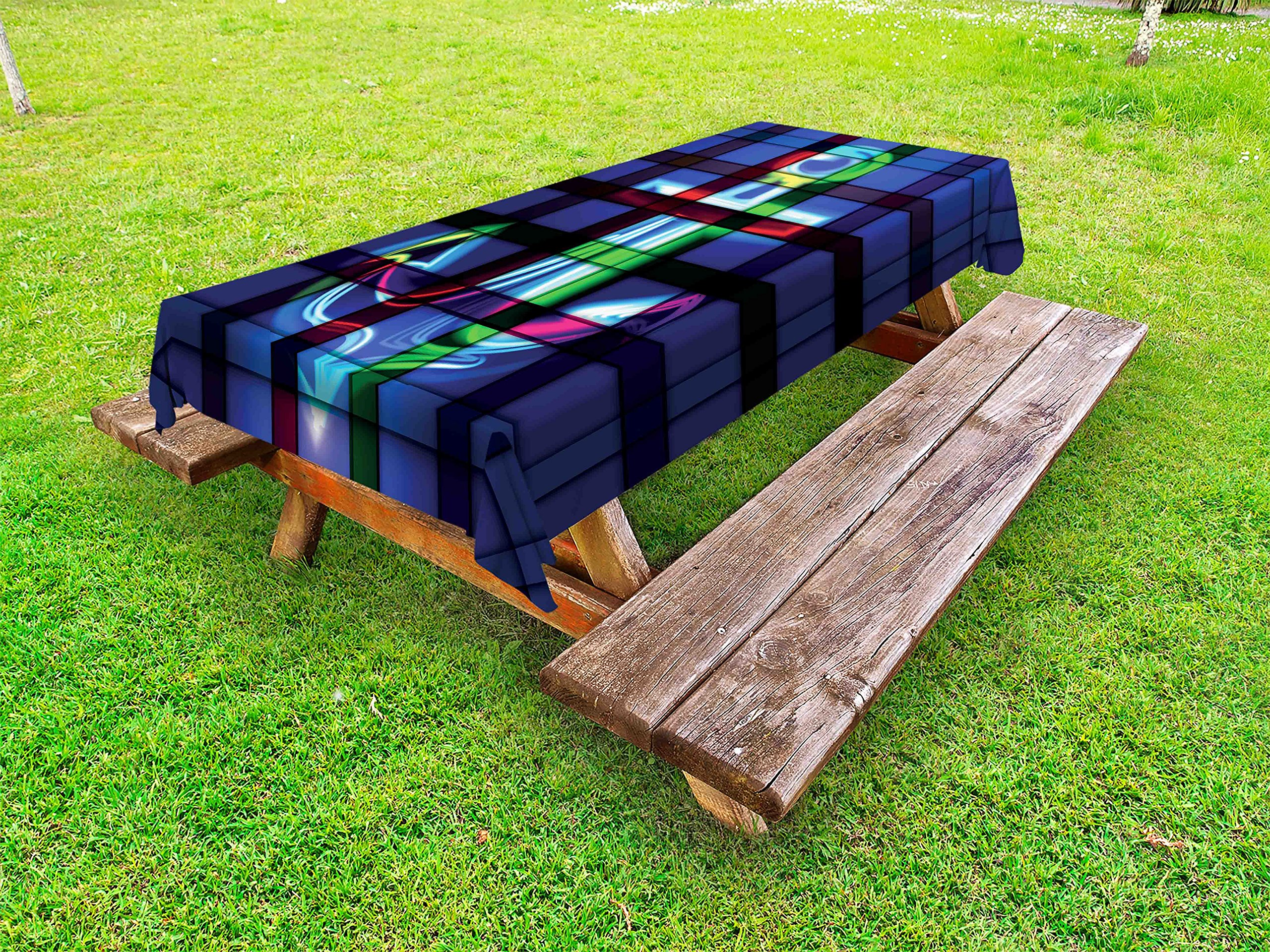 Lunarable Anchor Outdoor Tablecloth, Anchor Nautical Sign Abstract Style Window Glass Gathering Celebration, Decorative Washable Picnic Table Cloth, 58 X 120 inches, Royal Blue Green Red