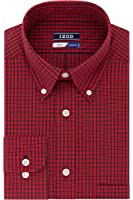 IZOD Men's Regular Fit Red Plaid Buttondown Collar Dress Shirt