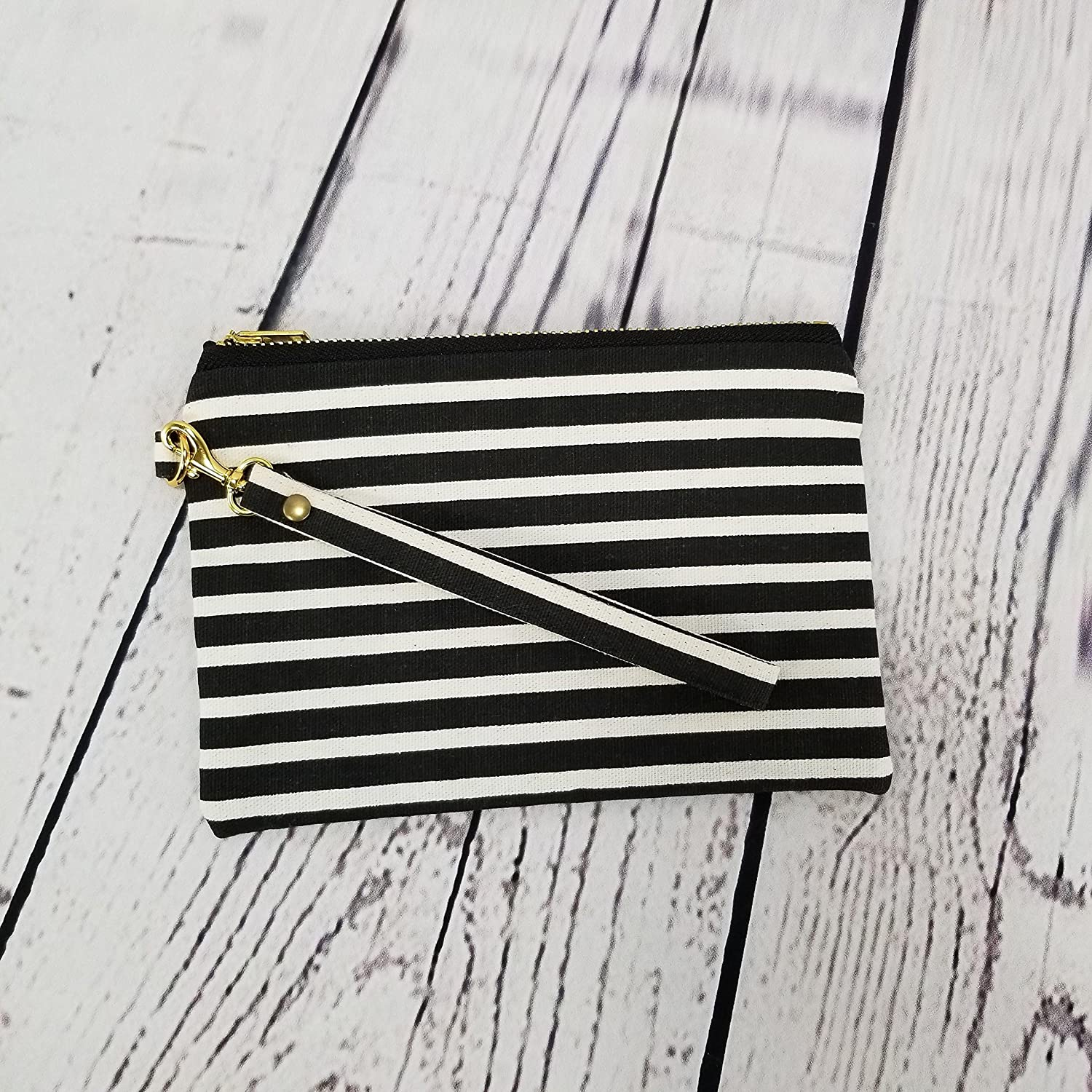 Black Striped Cotton Canvas Wristlet Wristlets for Women Large Wristlets Wristlet Clutch Gifts for Women