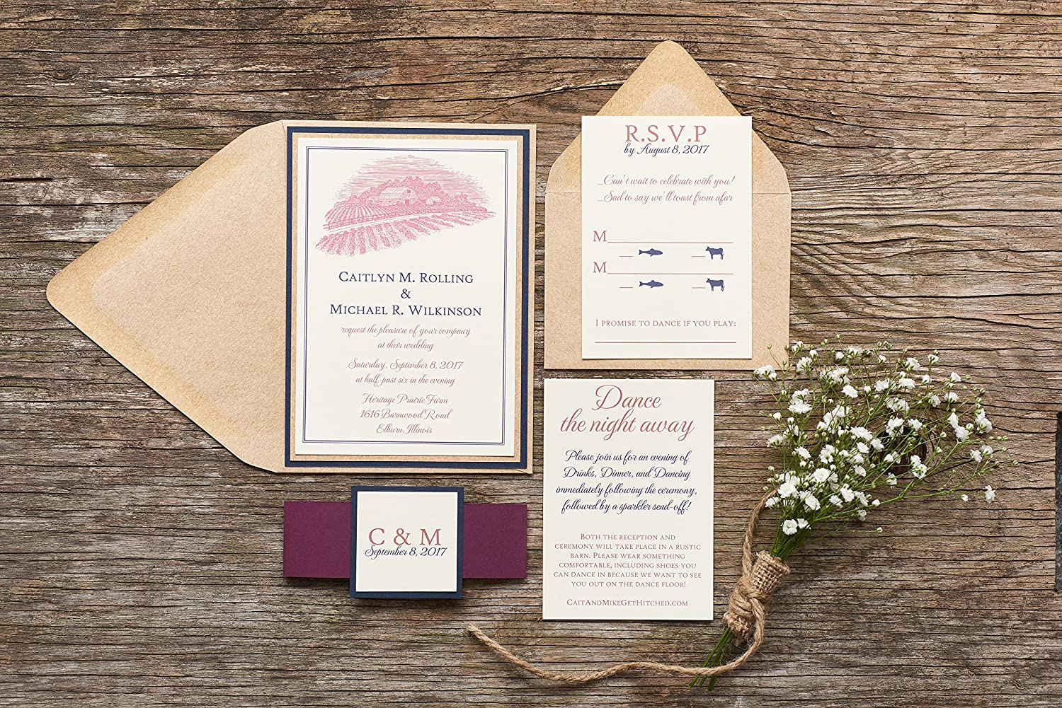 Amazoncom Rustic Barn Wedding Invitation Red White And Blue