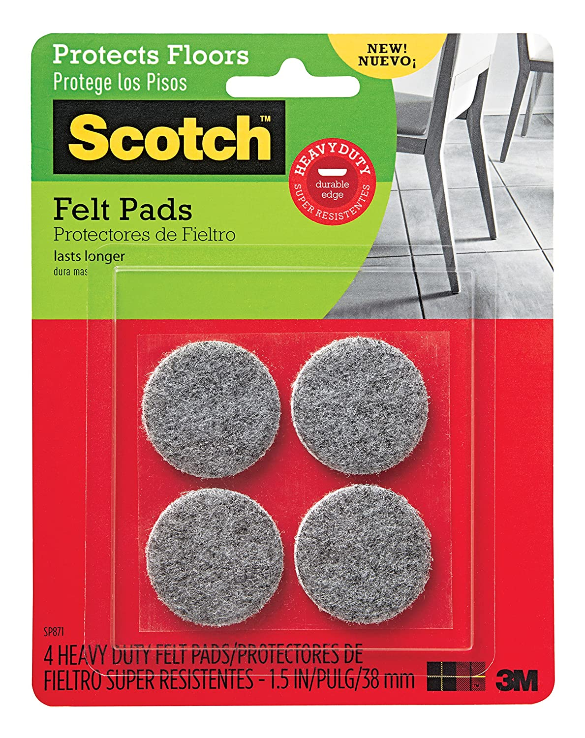 Scotch Heavy Duty Felt Pads, Round, Gray, 1.5-Inch Diameter, 4 Pads/Pack, 6-Packs (24 Total)