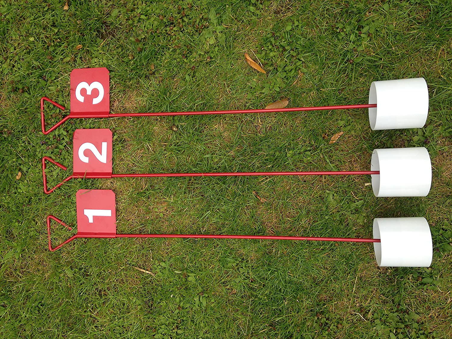 3 x numbered metal professional jl golf putting green flag and
