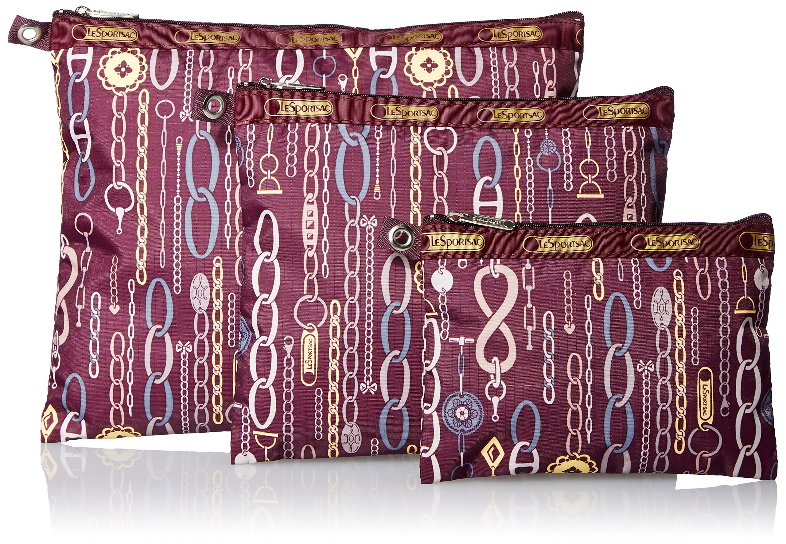 LeSportsac 3 Piece Travel Set Cosmetic Bag, Deco Charm Plum, One Size