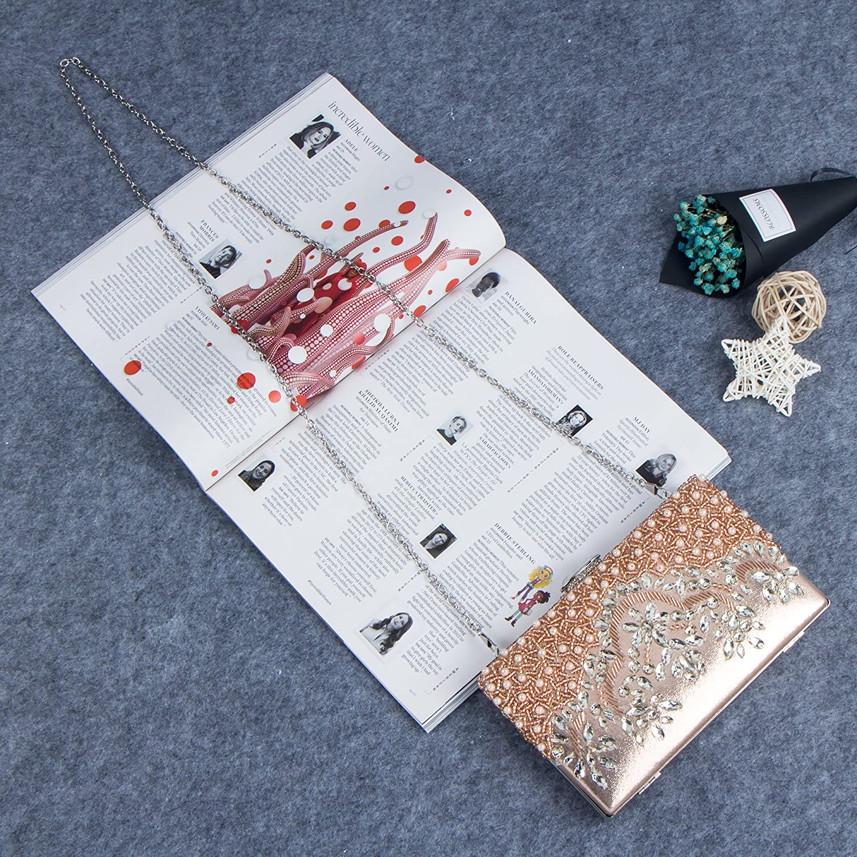 Bagood Womens Handmade Glassbeads Embroidery Crystal Rhinestones Evening Bag Party Handbag Clutch Purse