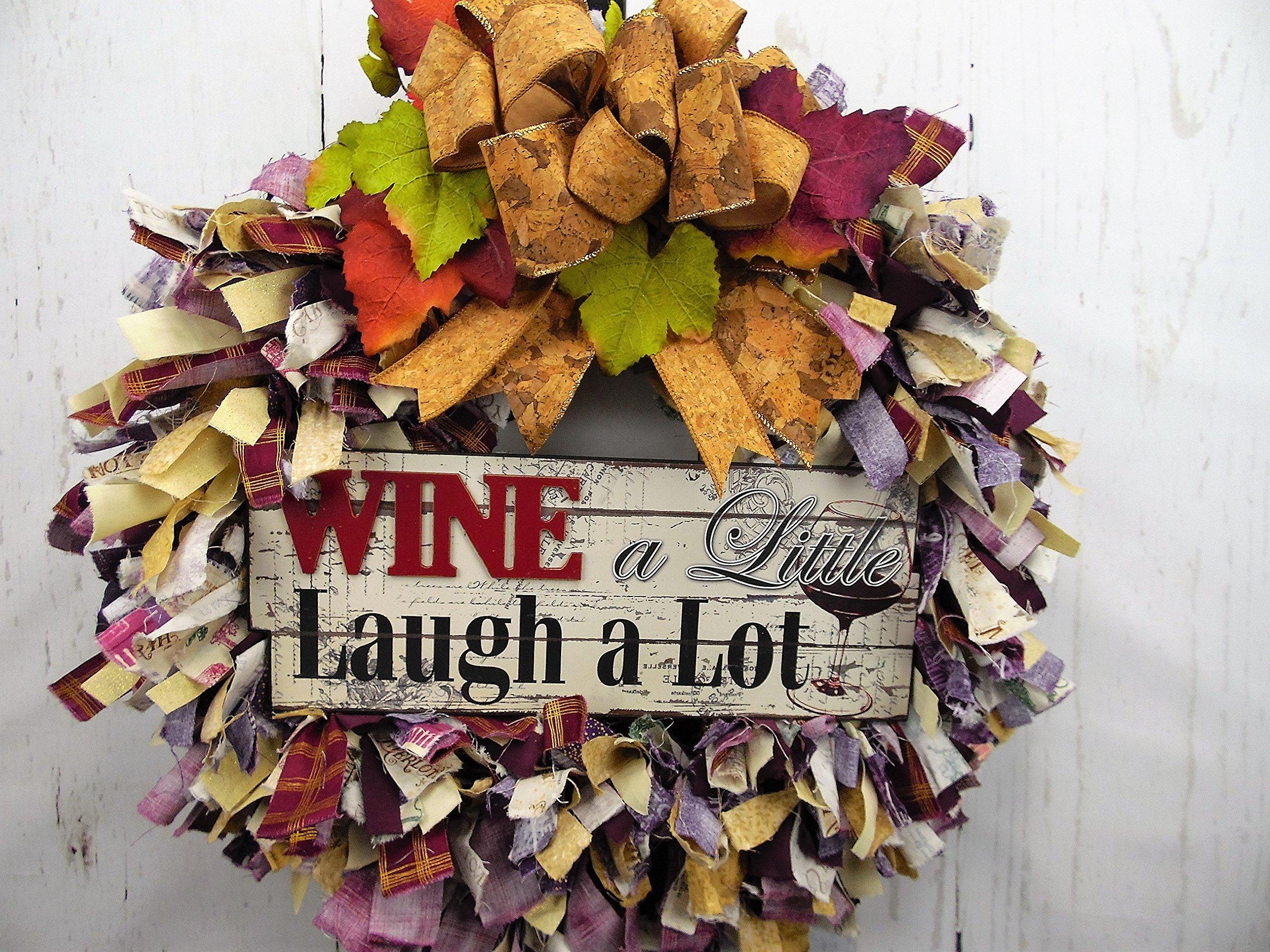 Wine Rag Wreath, Fabric Wreath, Wine Decor