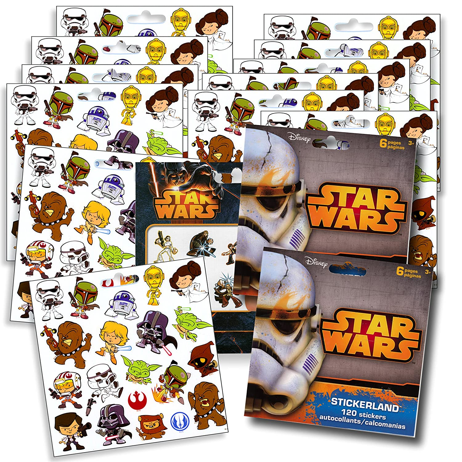 Star Wars Stickers Party Favors ~ Set of 2 Sticker Packs ~ 12 Sheets over 240 Stickers plus Star Wars Tattoos Darth Vader Storm troopers Chewbacca