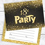 Olivia Samuel Black and Gold Effect 18th Birthday Party Invitations - Ready to Write with Envelopes