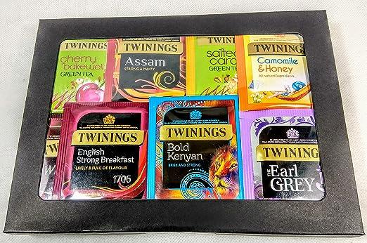 Twinings Tea - Caja de cartulina negra de lujo para té de fruta, verde y negro. 20 sabores, 50 bolsas de té envueltas. Regalo perfecto para té, caja de té de variedad: