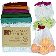 """Reusable Produce Bags The Original Eco - Friendly See Through and Washable Soft Premium Lightweight Nylon Mesh Large 12""""X14"""" Set of 5 (Red, Yellow, Green, Blue, Purple) By Naturally Sensible"""