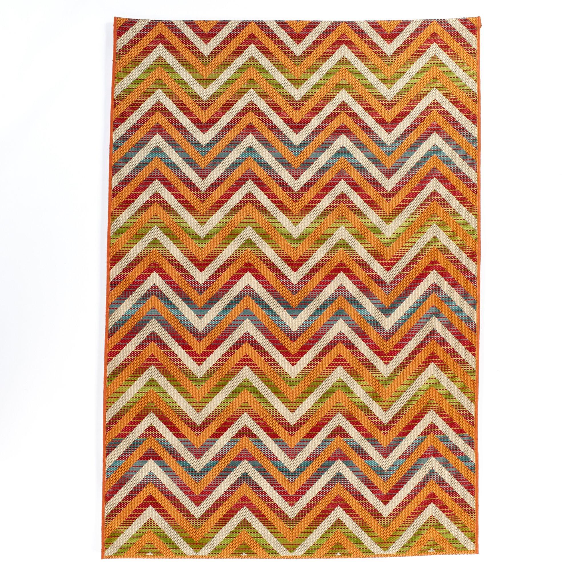 Carpet Art Deco Bellaire Collection Indoor Outdoor Rug, 5'3'' x7'5, Multicolor