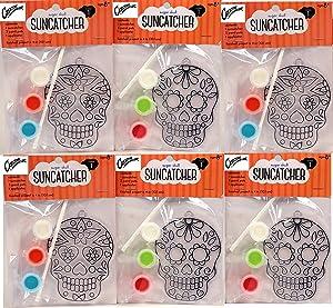 Creative Hobbies Suncatcher Craft Kits Kids - 6 Complete Kits - Sugar Skulls - Great Group Project, Party Favor, DIY Activity