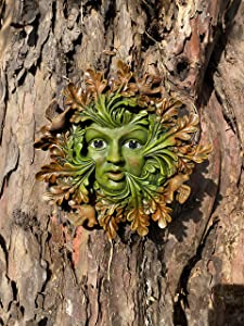 Tree Faces Decor Outdoor - Hanging Garden Green Man Wall Art Face Plaque for Back Yard - Tree Hugger - Faces for Trees - Sculpture Decorations