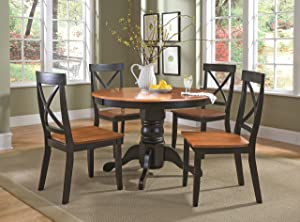 "Cottage Black/Oak 5 Piece 42"" Round Dining Set with 4 Chairs by Home Styles"