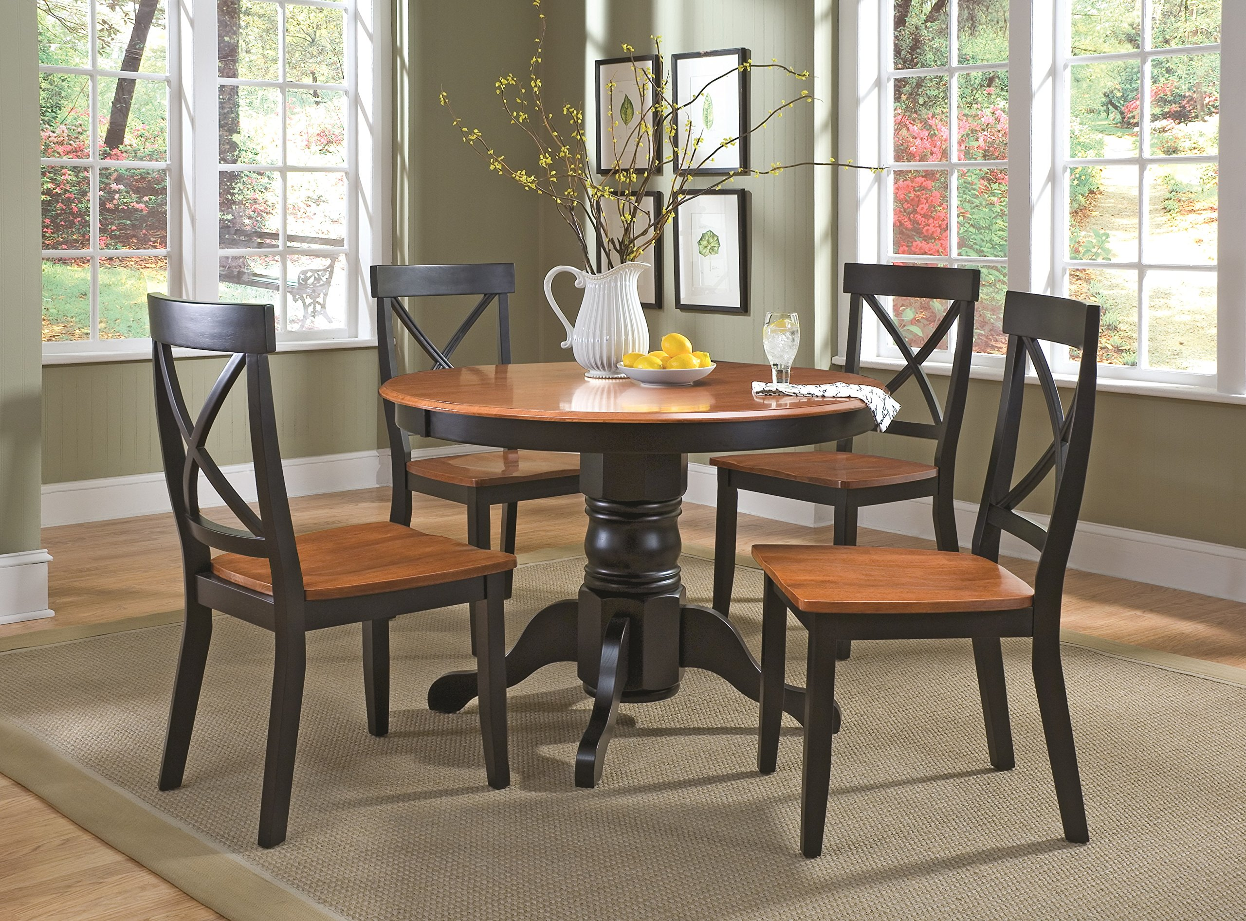 Cottage Black/Oak 5 Piece 42'' Round Dining Set with 4 Chairs by Home Styles by Home Styles