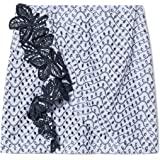 Derek Lam 10 Crosby Women's Lanah Ruched Skirt with Lace Trim Blue