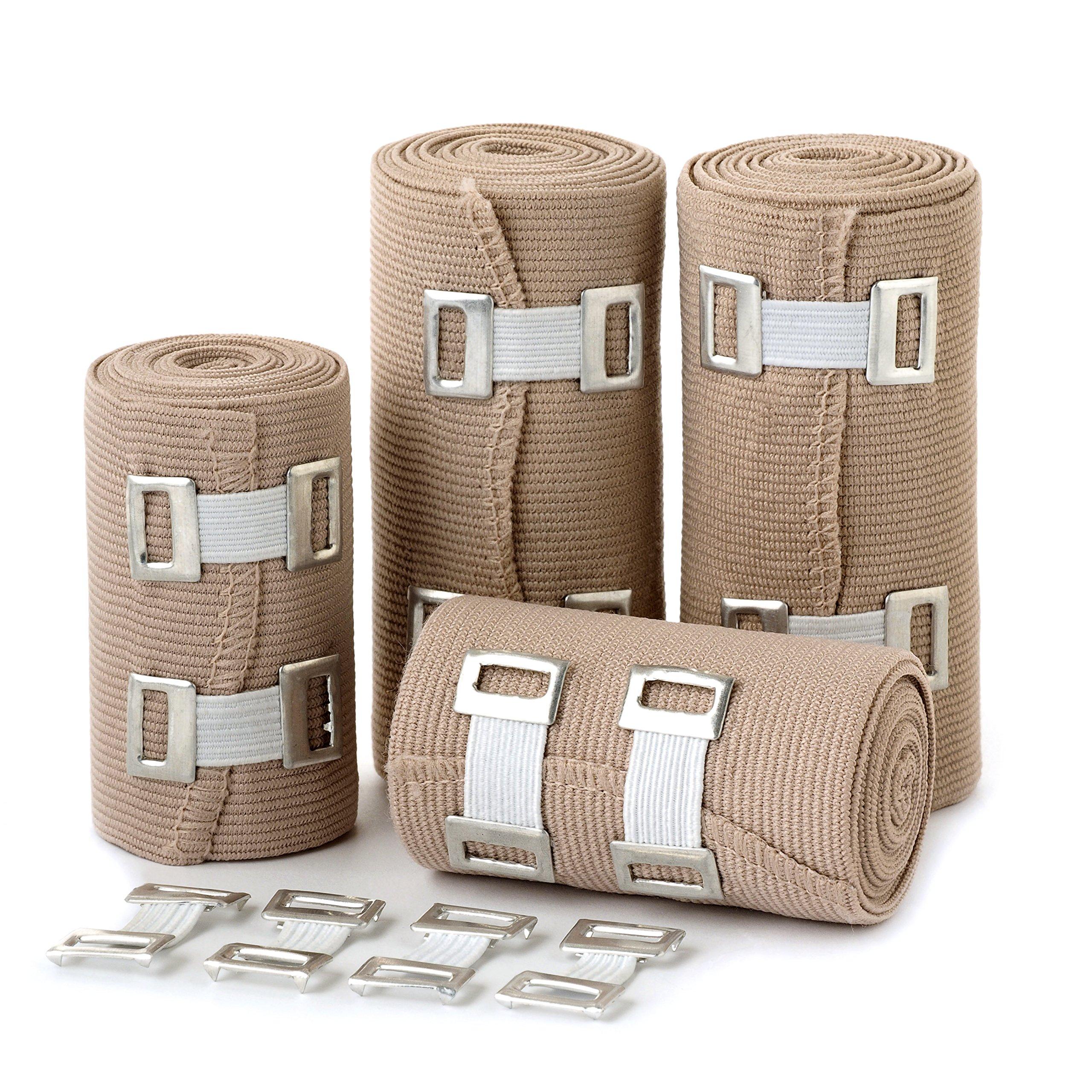 Elastic Bandage Wrap Compression Roll - Set of 4 Compression Bandages - Compression Wraps - Compression Bandage Roll with Hook Closure - Elastic Bandage Clips - Polyester Bandage Wrap