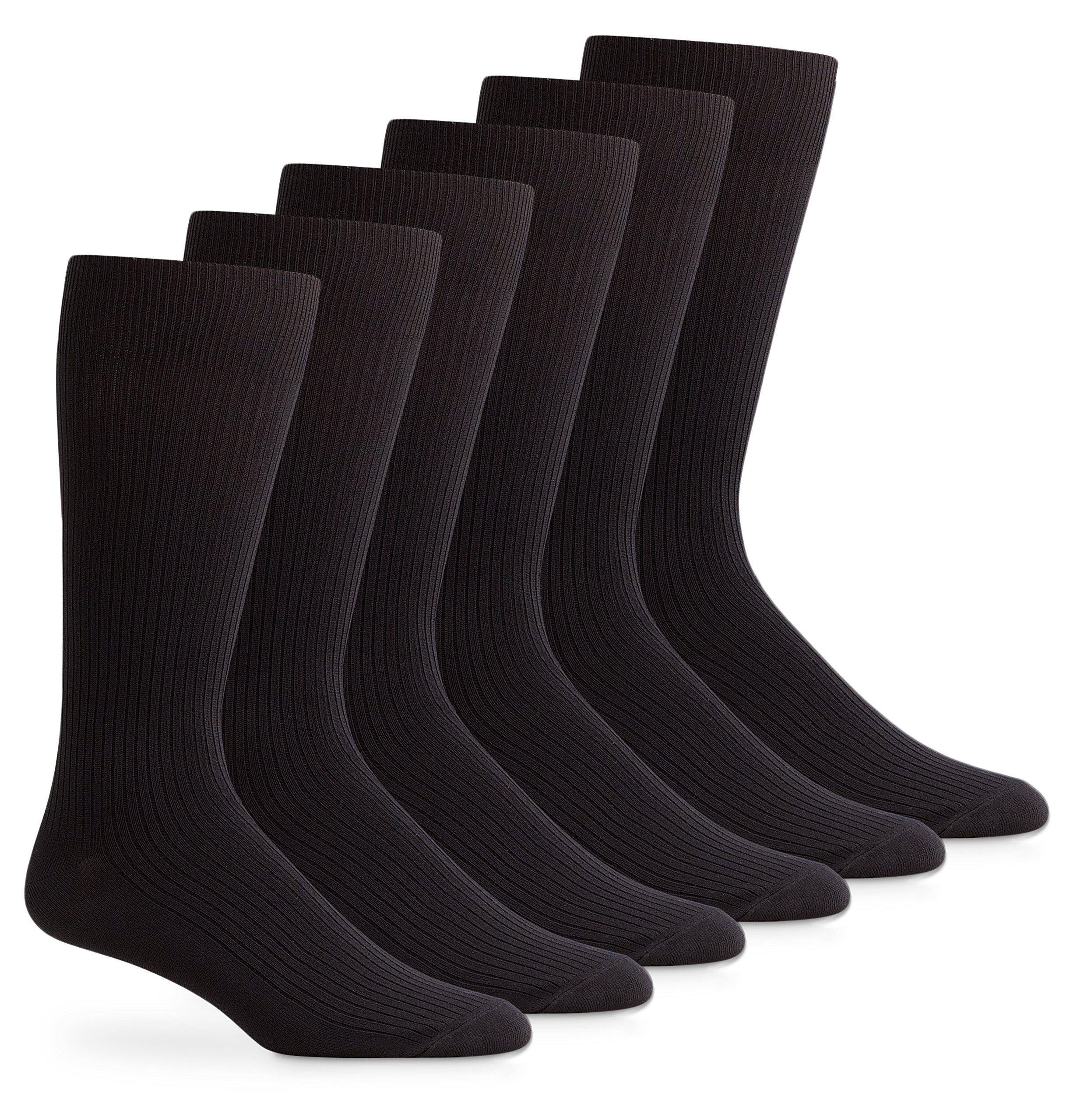 Jefferies Socks Womens Smooth Microfiber Crew Dress Work Boot Socks 6 Pair Pack (Sock Size 6-8 - Shoe Size 4-6.5, Black)