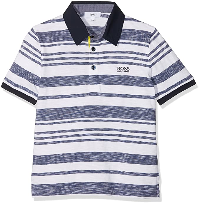 21e19b8f Hugo Boss Boys White & Blue Striped Polo Shirt: Amazon.co.uk: Clothing