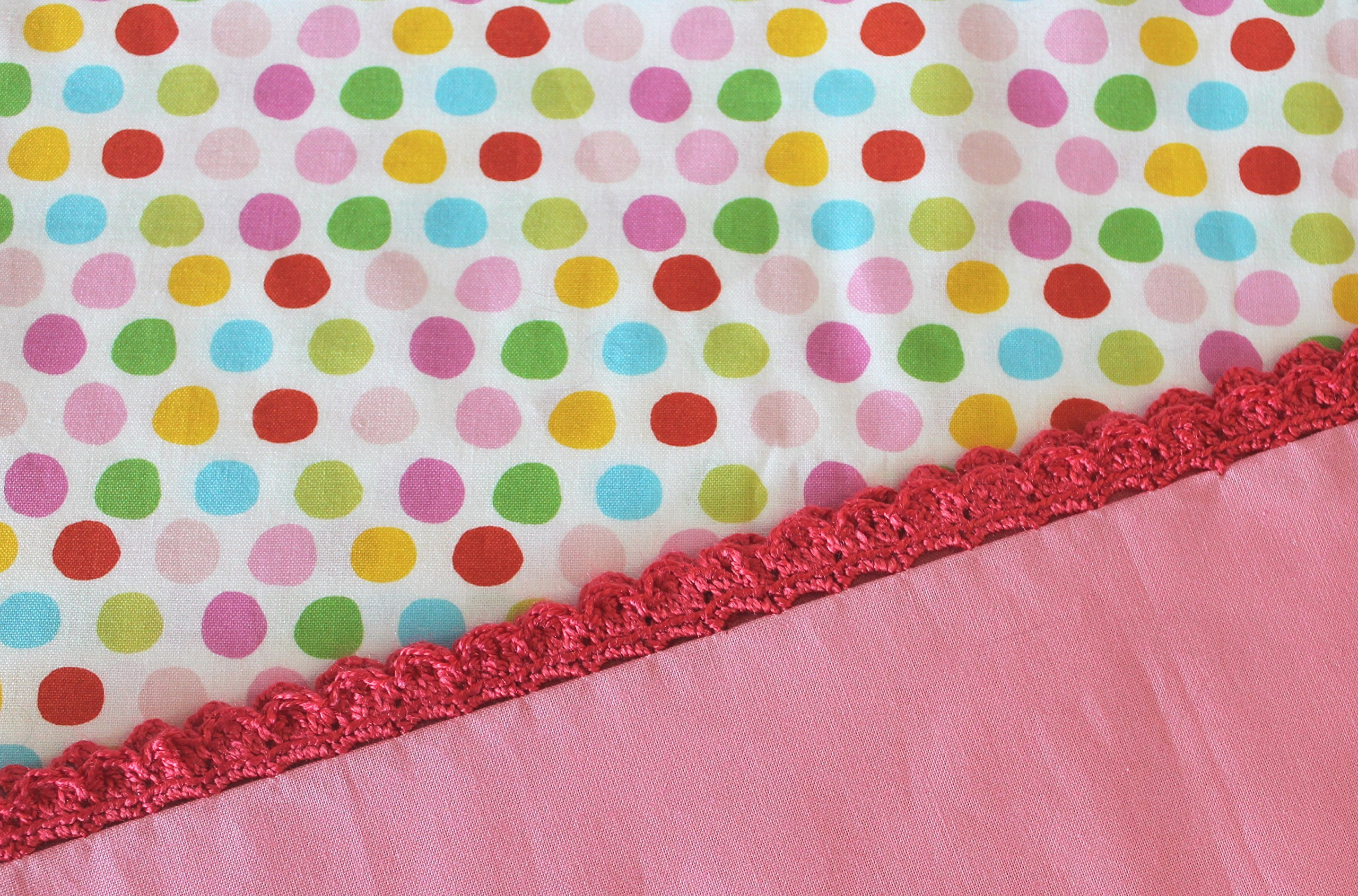Standard Pillowcase With Crocheted Edge Pink Red Yellow Green Aqua Polka Dots with a pink hem and pretty red crocheted edging. Handmade with Love and Ready to Ship.
