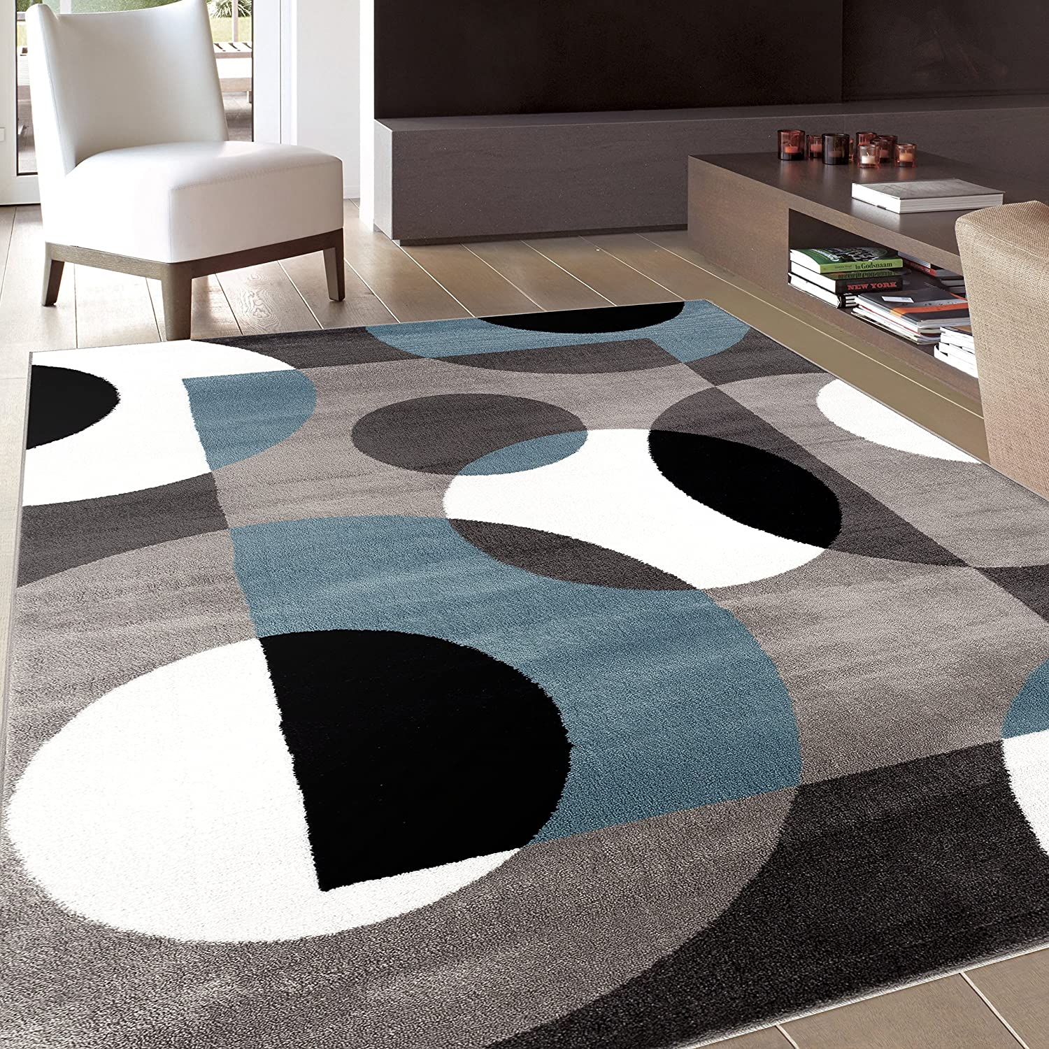 Area rug modern carpet circles designer rug living room for Blue and white carpet