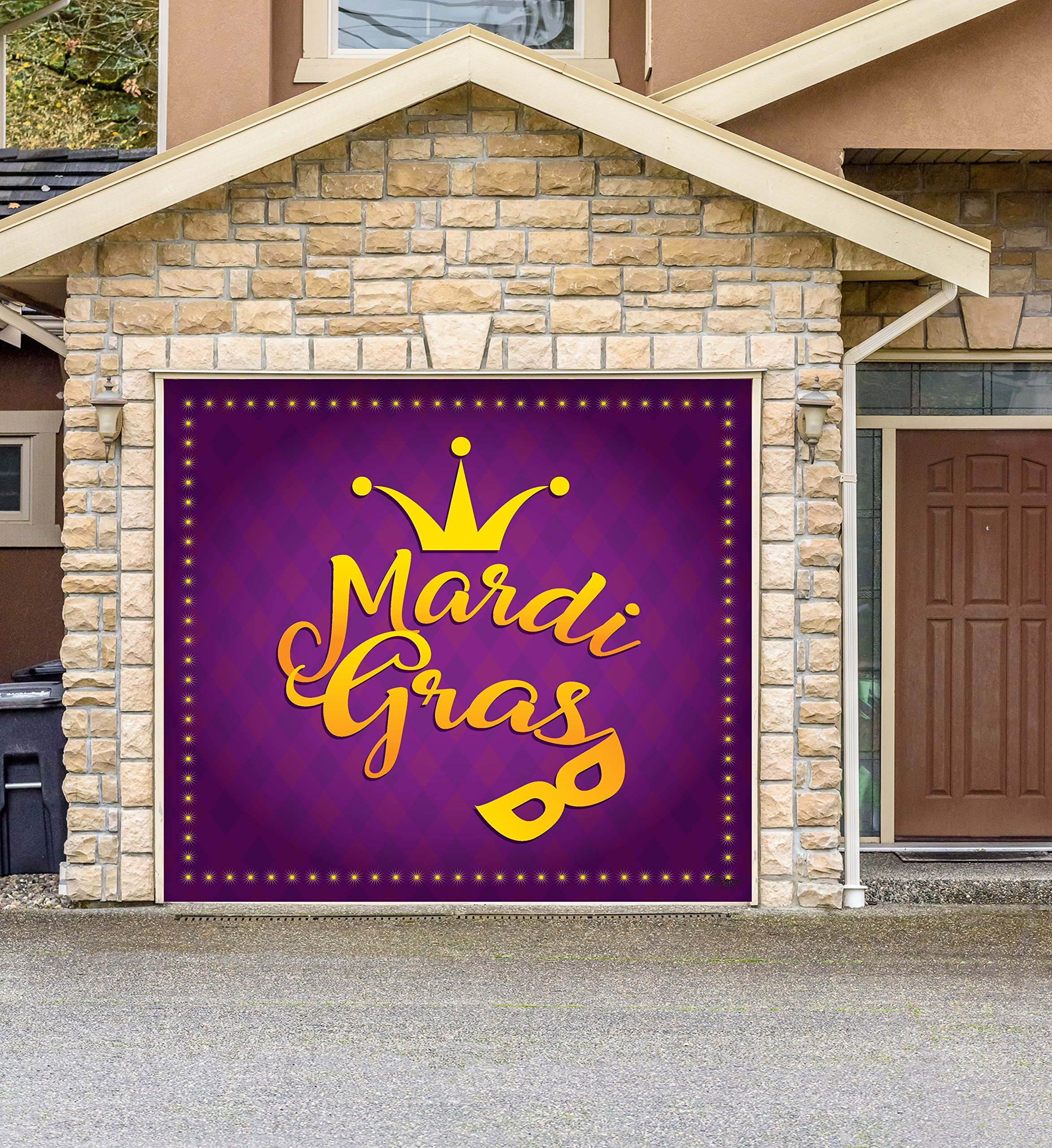 Outdoor Mardi Gras Decorations Garage Door Banner Cover Mural Décoration 8'x9' - Mardi Gras Crown and Mask - ''The Original Mardi Gras Supplies Holiday Garage Door Banner Decor'' by Victory Corps