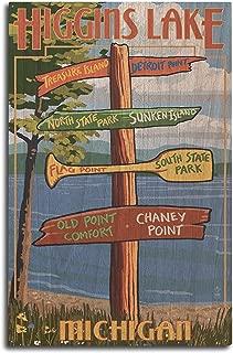 product image for Lantern Press Higgins Lake, Michigan - Destinations Sign (10x15 Wood Wall Sign, Wall Decor Ready to Hang)