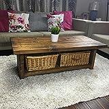 Solid Rustic Handmade Pine coffee table (MK4B), finished in a Chunky Country Oak (100 x 60 x 50 High, Dark Oak)