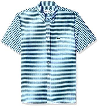1a3e1c4f9 Lacoste Men s Short Sleeve Oxford Button Down Collar Reg Fit Woven Shirt
