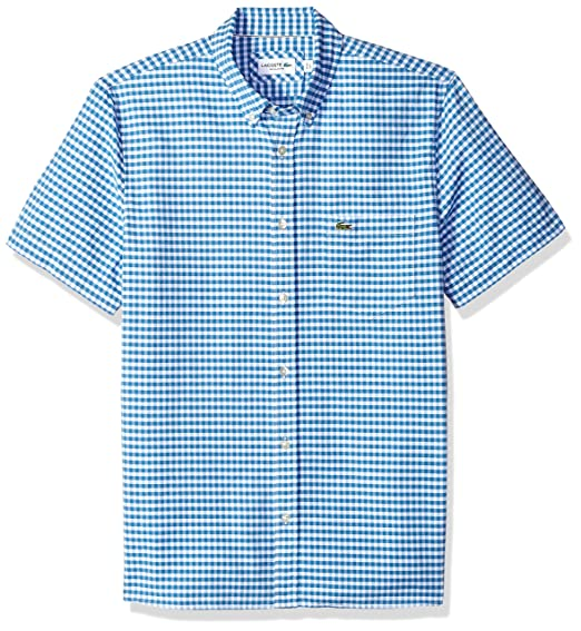 9c4c521a Lacoste Men's Short Sleeve Oxford Button Down Collar Reg Fit Woven ...