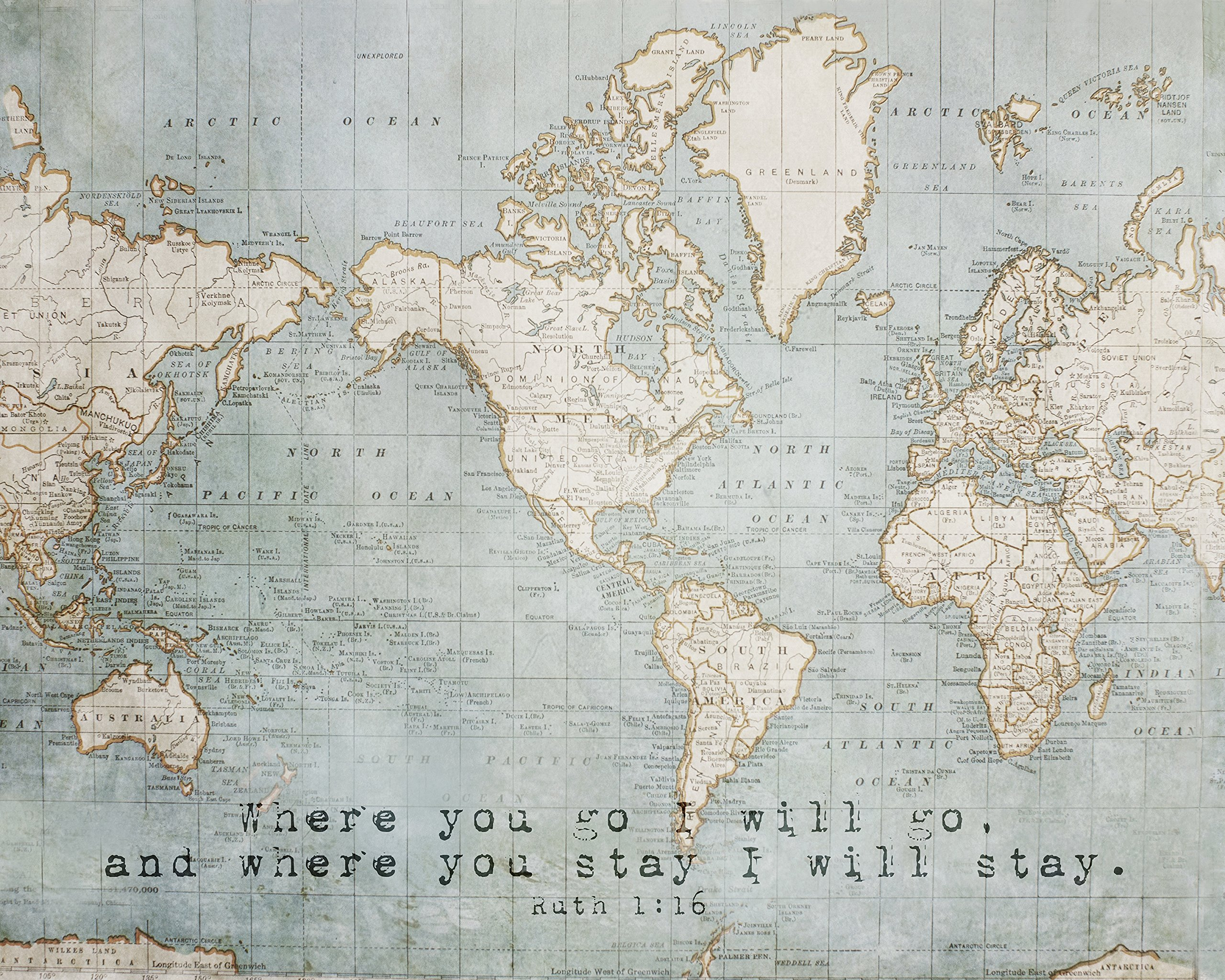 Vintage World Map Photograph with Scripture Quote, Home Decor Photo Print