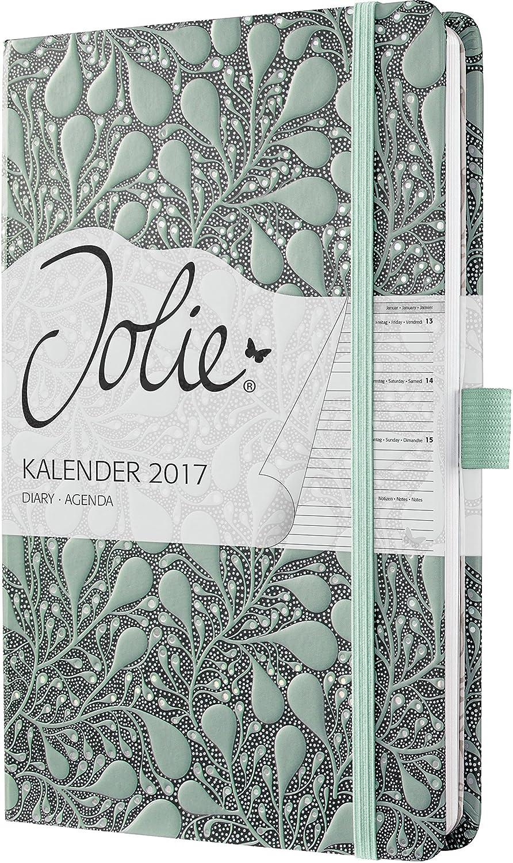 Sigel J7307 - Agenda semanal Jolie 2017 de A5 con tapa dura con diseño Jade Leaves