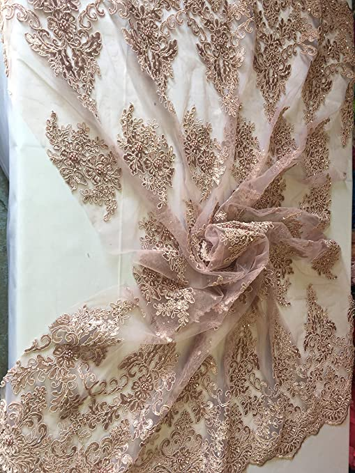 Lace Fabric Dusty Rose Bridal Beaded Embroidered Mesh Dress By The Yard