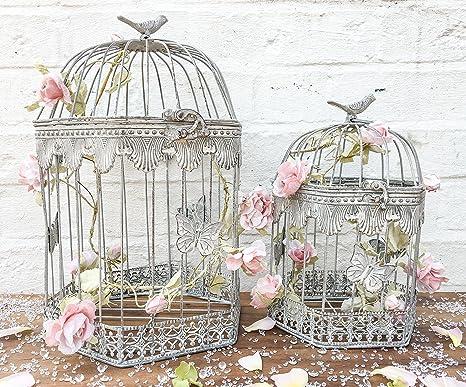 Centro Grande jaula de pájaro mesa para boda Shabby Chic francés ...