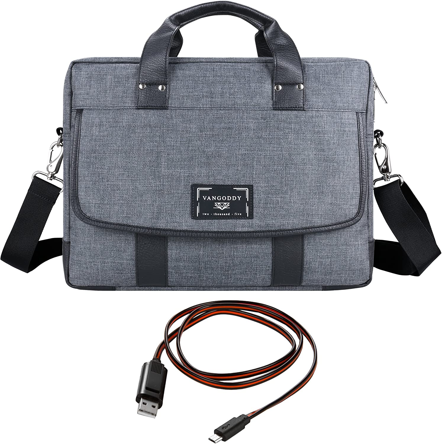 ThinkPad E L P Series 15.6 Laptop and Sync and Charge Cable Chrono Grey Rugged Tote Crossbody Shoulder Bag for Lenovo Flex 3 IdeaPad
