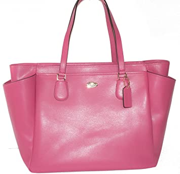 ab5ce9c8aa5ea Amazon.com   COACH Crossgrain Leather Baby Diaper Bag Multifunction Tote in  Light Gold Dahlia Pink 35702   Baby