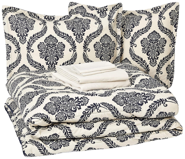 AmazonBasics 8-Piece Comforter Bedding Set, Full / Queen, Blue and Tan Damask, Microfiber, Ultra-Soft