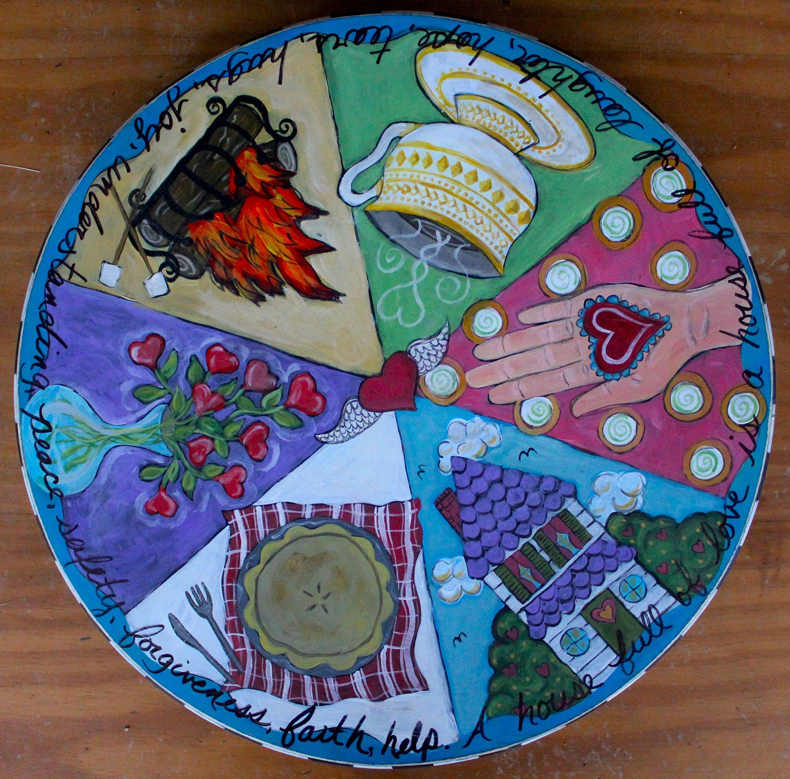 'A House Full of Love' Handpainted Wooden Lazy Susan by NC Folk Artist, Kristen Feighery