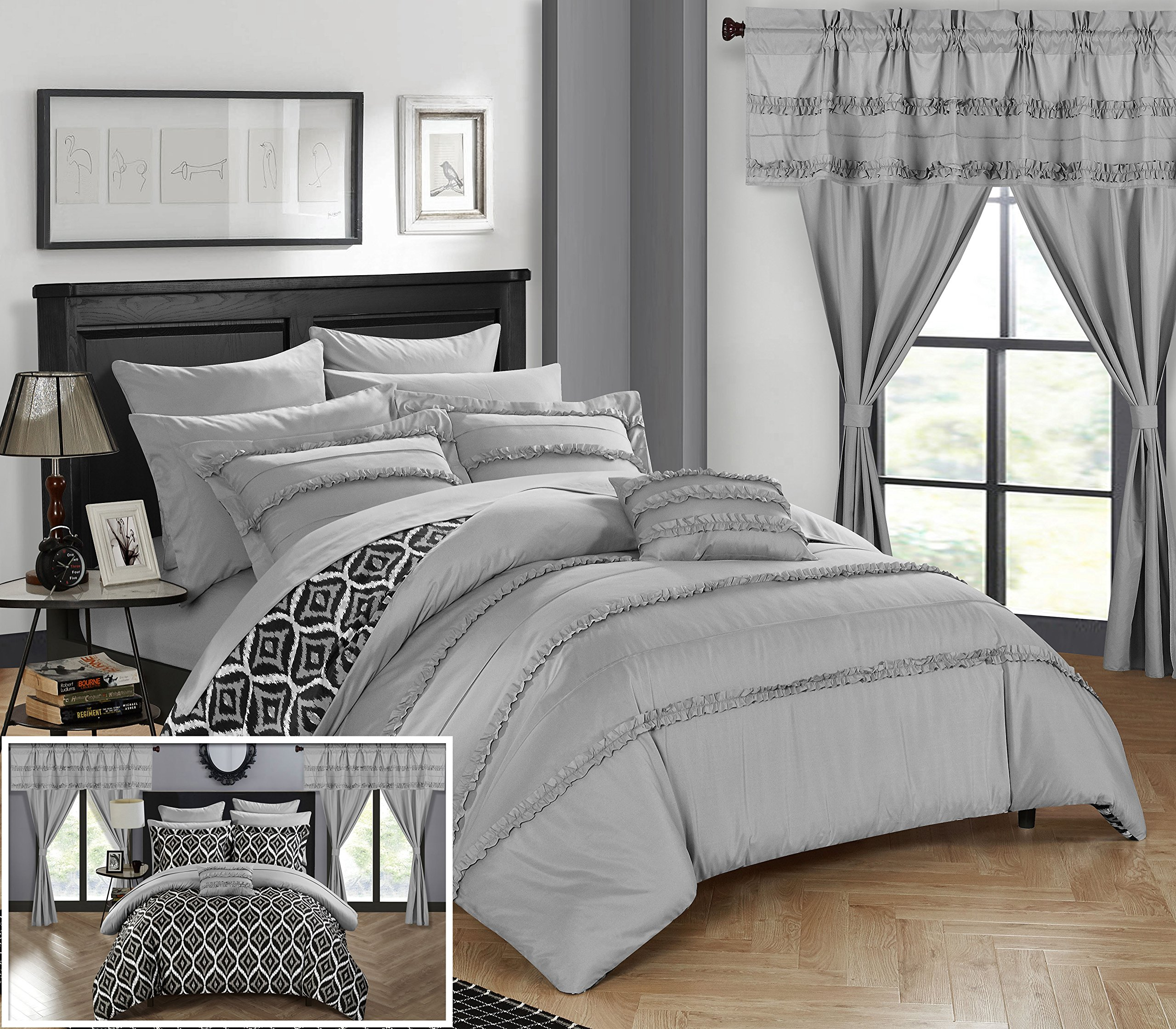 Chic Home CS0735-AN 20 Piece Adina Complete Bed Room In A Bag Super Set Pinch Pleated Design Reversible Geometric Pattern Comforter Set, Sheet, Window Treatments And Decorative Pillows, King, Grey
