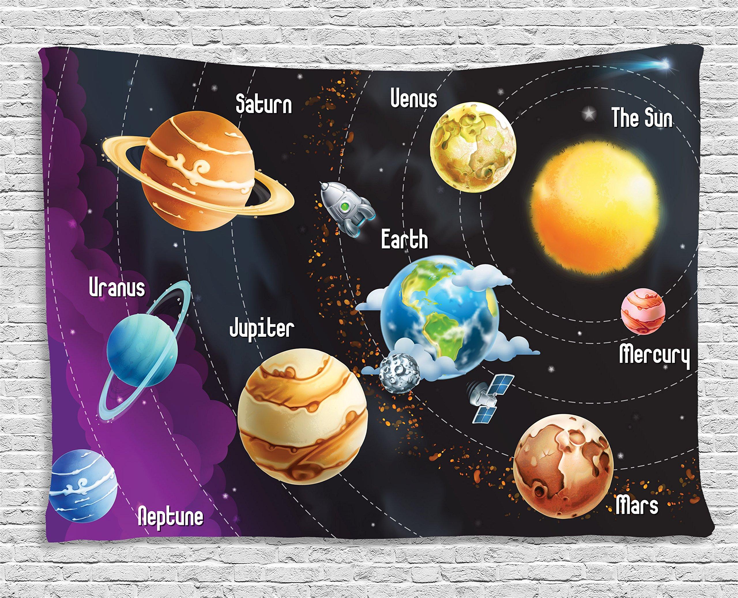 Ambesonne Planet Tapestry Universe Space Decor, Educational Solar System Planets Neptune Venus Mercury Kids Science Room Horizontal Art, Bedroom Living Room Dorm Wall Hanging, 80 W X 60 L, Multi