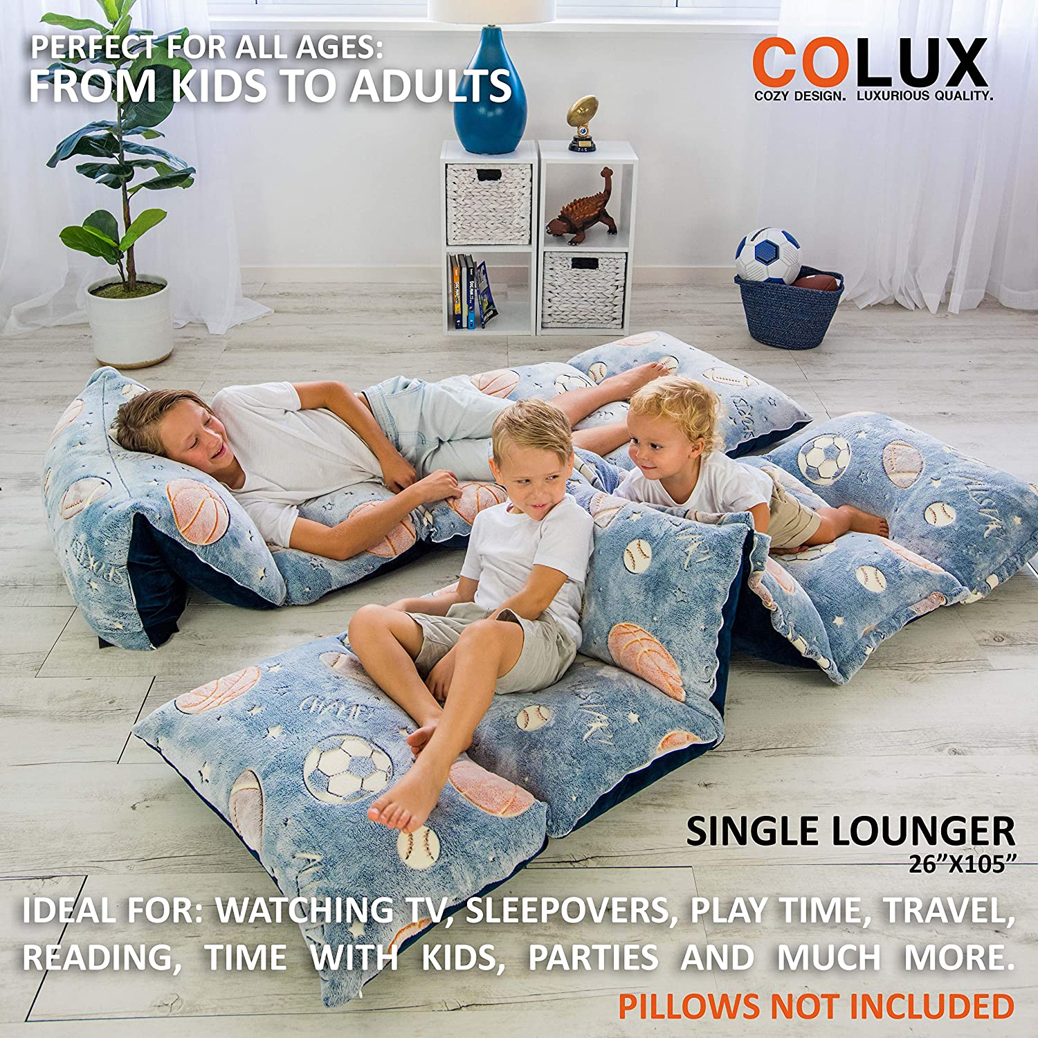 kids couch teen body pillow loungers COVER ONLY COLUX 3 IN 1 Glow in The Dark Floor Pillow COVER for Kids Fold out chair bed boy /& girl pillow beds lounge chairs happy nappers fold out sofa bed