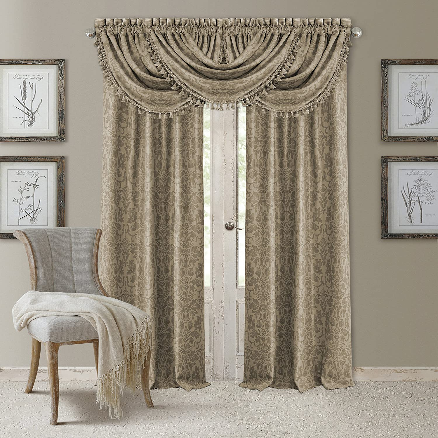 "Elrene Home Fashions 20860ELR Antonia Blackout Rod Pocket/Back Tab Window Curtain Panel,Taupe,52"" X 84"
