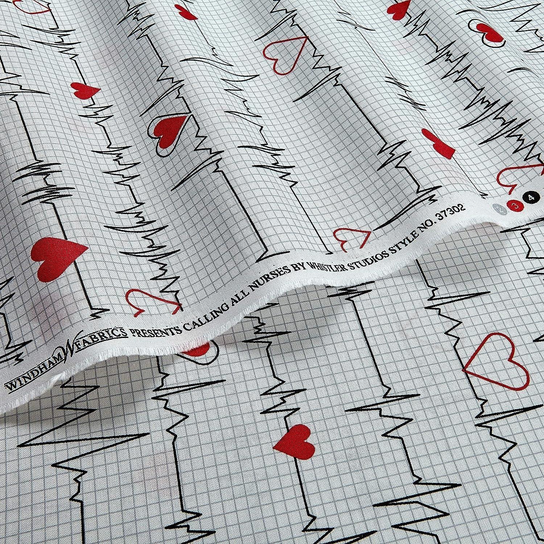 Windham Fabrics Calling All Nurses Heart Beat White Fabric By The Yard