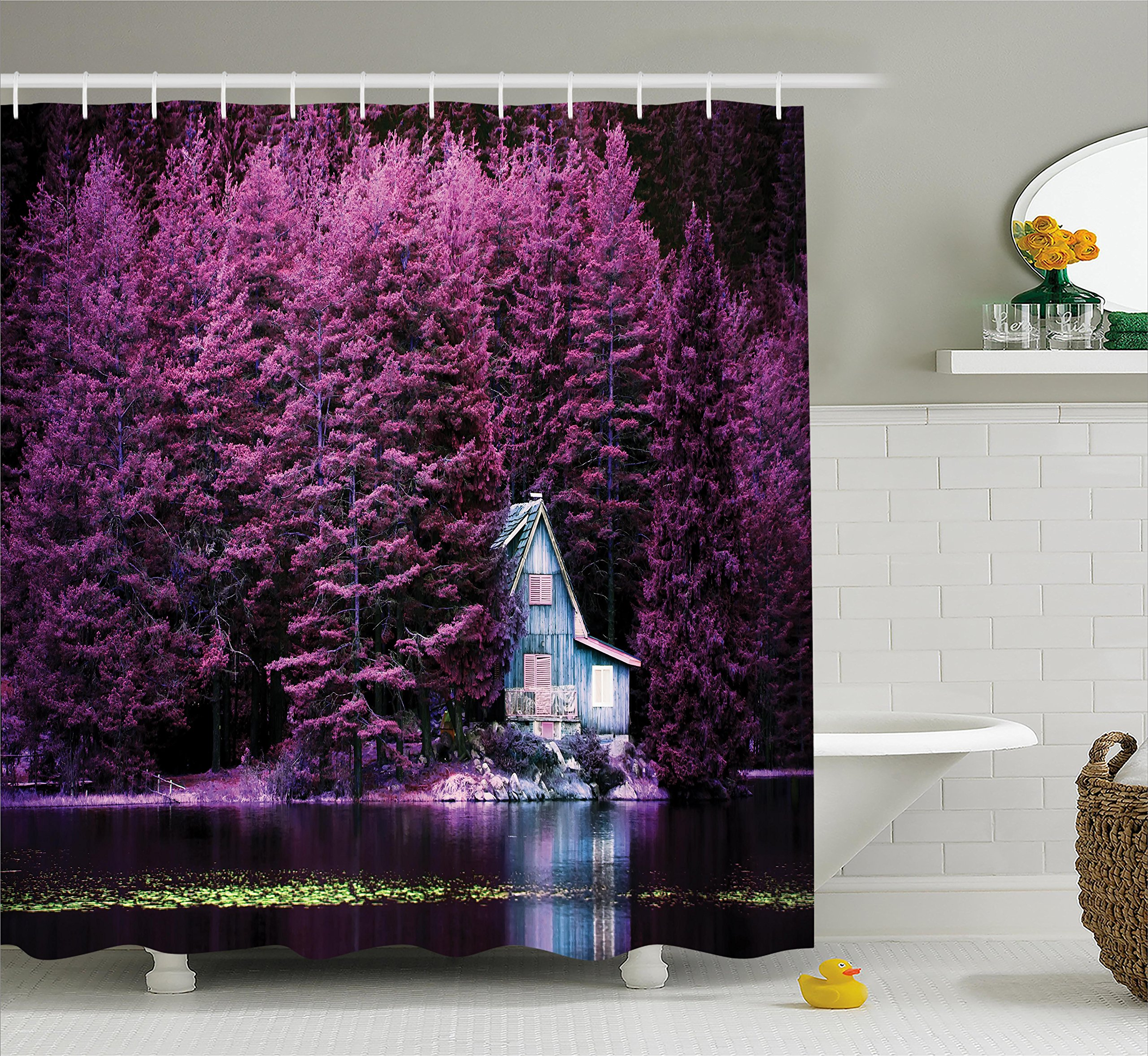 Lavender Shower Curtain Set by Ambesonne, Purple Trees by the Lake ...