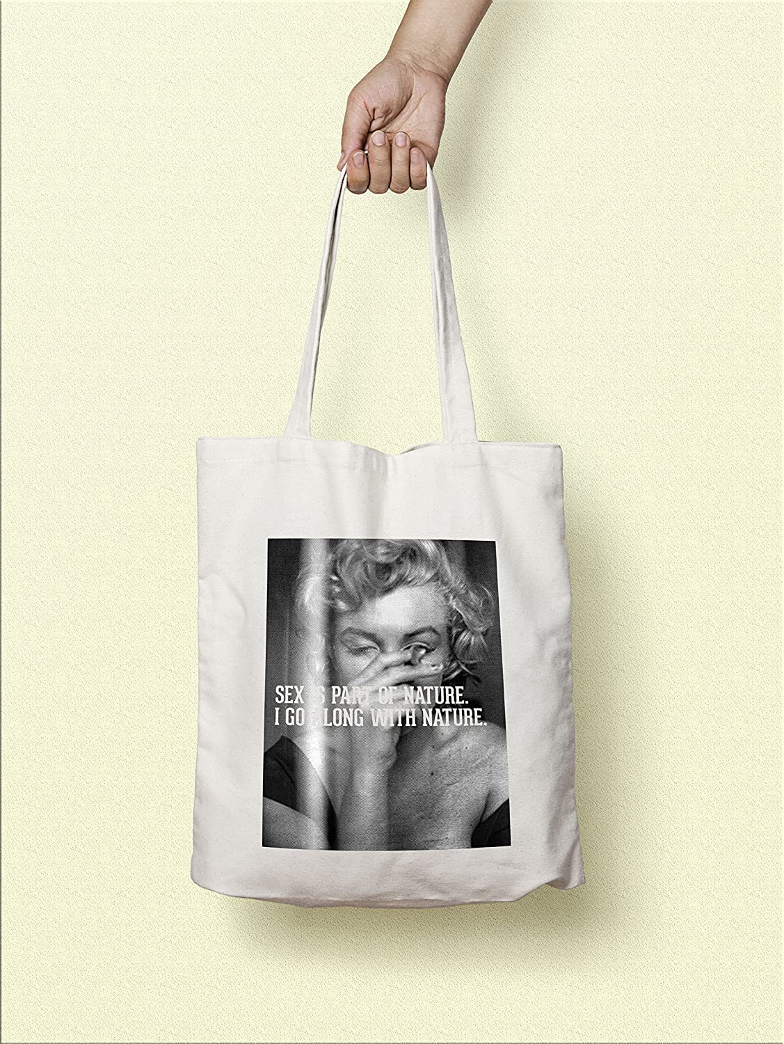 6ce491cb14cb Amazon.com  Cotton Tote Hand Bag black ink - Marilyn Monroe - Sex is Part  of Nature  Handmade