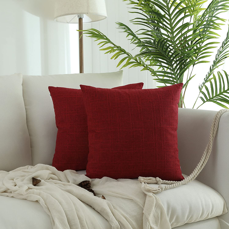 Kevin Textile Christmas Retro Farmhouse Checkered Weaving Cotton Linen Decorative Throw Pillow Case Cushion Cover Pillowcase for Sofa, Set of 2, 18inch (45cm), Chilli Pepper Red