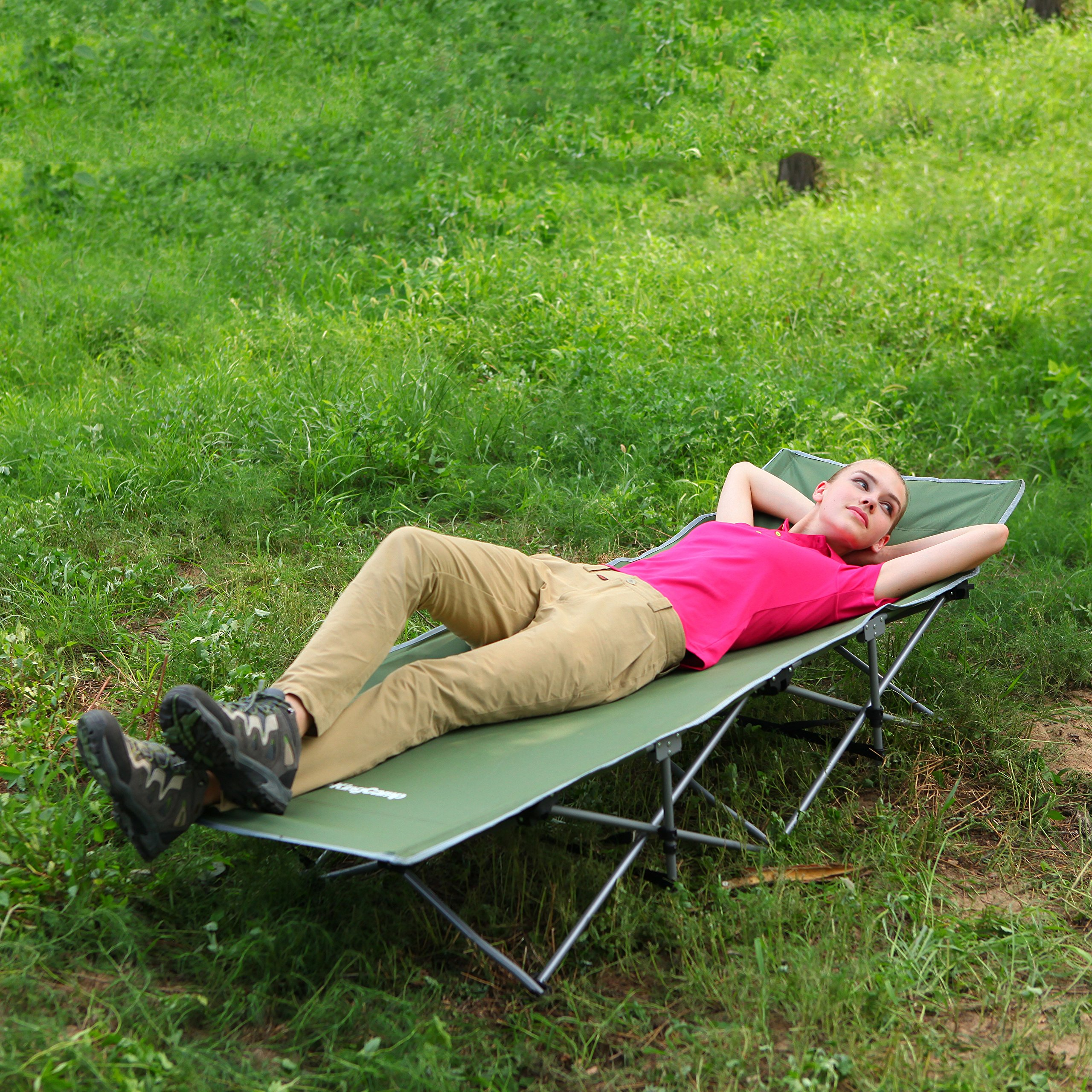 KingCamp Strong Stable Folding Camping Bed Cot with Carry Bag (Green)