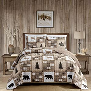 Rustic Modern Farmhouse Cabin Lodge Quilted Bedspread Coverlet Bedding Set with Patchwork of Wildlife Grizzly Bears Deer Buck and Plaid Check Patterns in Taupe Brown - Western-1 (King/Cal-King)