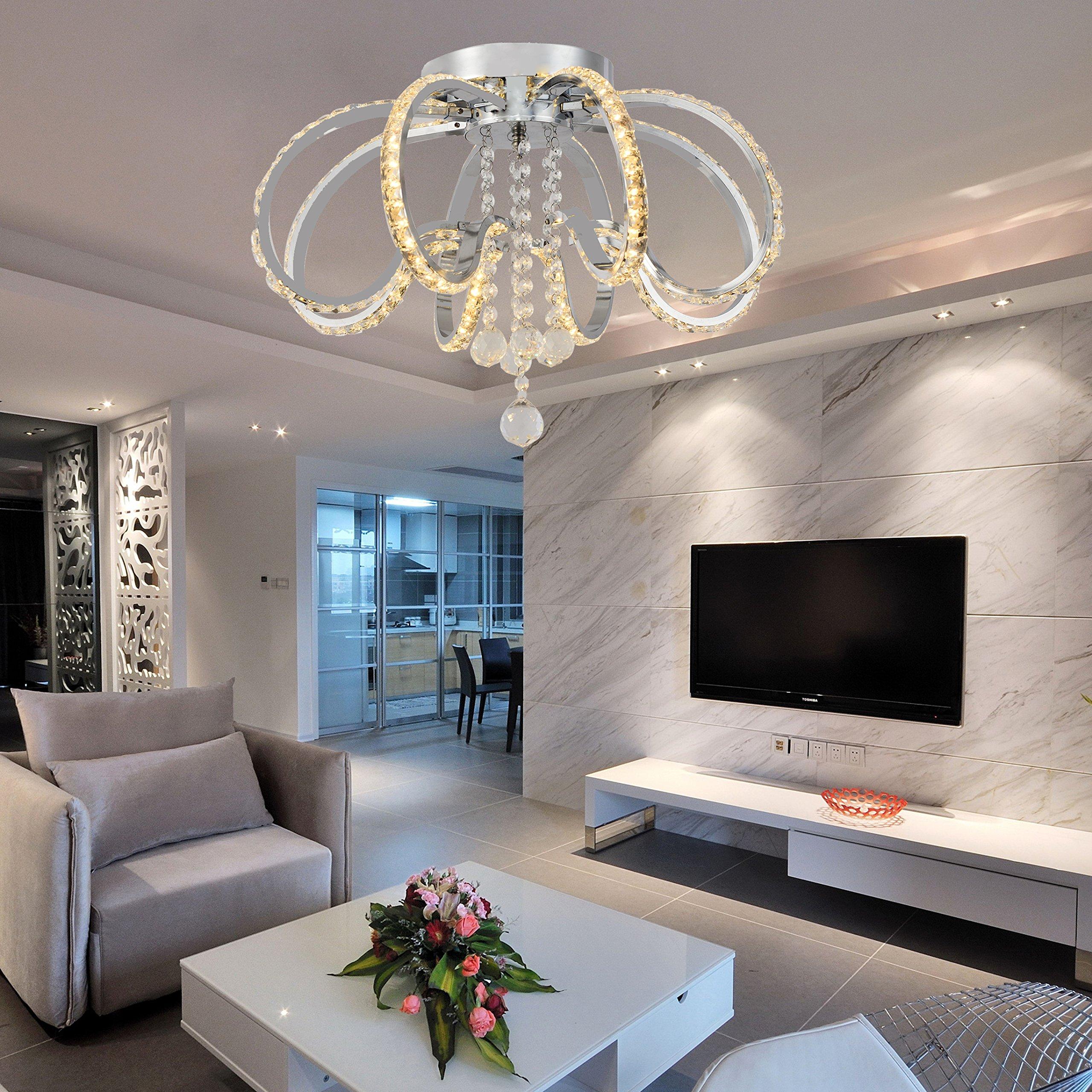 Flush Mount Ceiling Light Ceiling Lamp Pendant Light Chandelier LED Dimmable Contemporary Metal Crystal Ceiling Lamp Pendant Light for Living Room,Bedroom ,Dining Room ,Children's Room Bulb Included