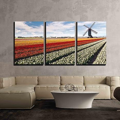 Dutch Windmill  Field Canvas Wall Art Picture Print